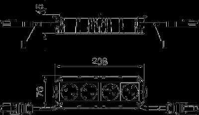 Схема Укомплектованная монтажная коробка GB3, на 2 цепи тока, без галогенов, длина 208 см — арт.: 7404552