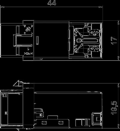 Схема Телекоммуникационный модуль RJ45, CAT. 6A (ISO), экранированный — арт.: 6117346