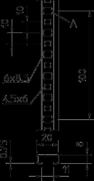 Схема Профильная рейка с шириной шлица 11 мм, разъемная — арт.: 1106023