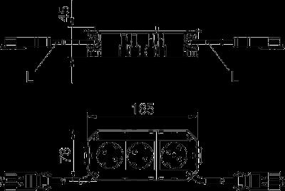 Схема Укомплектованная монтажная коробка GB2, на 2 цепи тока, с модулем защиты от перенапряжений, длина 165 см — арт.: 7404444