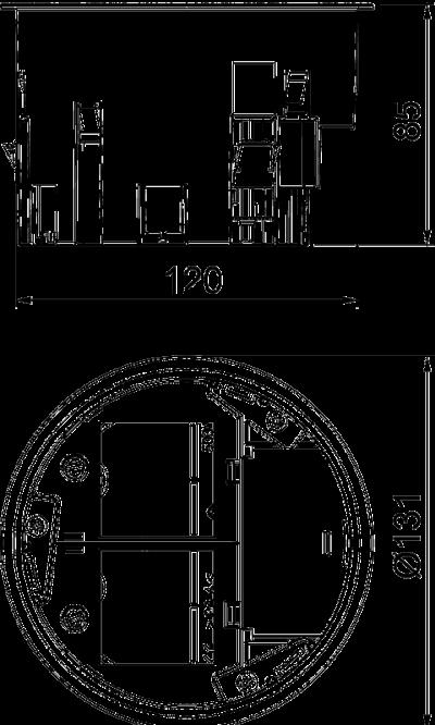 Схема Монтажная коробка пустая, для комплектации розетками в комбинации 1+1 — арт.: 7408838