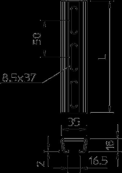 Схема Профильная рейка с шириной шлица 16,5 мм, перфорированная — арт.: 1112708
