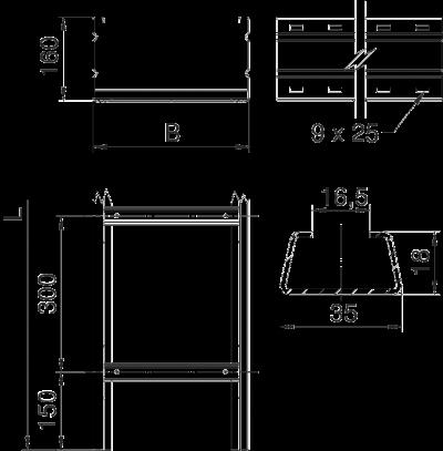 Схема Кабельный лестничный лоток WKLG 160 для больших расстояний — арт.: 6227023
