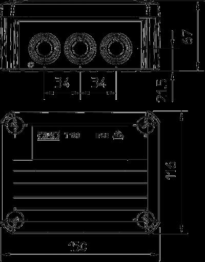 Схема Огнестойкая распределительная коробка FireBox T-100 ED с внутренним креплением и фиксатором — арт.: 7205550