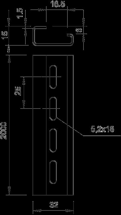 Схема Монтажная G-образная рейка, перфорированная — арт.: 1115065