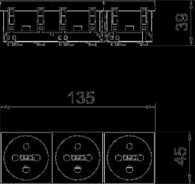 Схема Розетка 0° с заземляющим стержнем, с кодом, тройная — арт.: 6120316