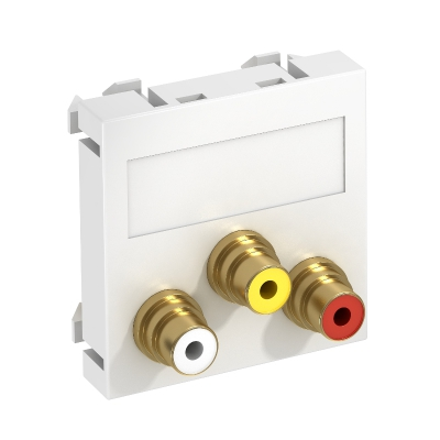 Мультимедийная рамка с 3 разъемами Audio/Video-Cinch, ширина 1 модуль, с прямым выводом, для соединения 1:1 — арт.: 6105186