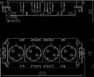Схема Модульная рамка MT4, укомплектованная 2 двойными розетками с защитным контактом, на 1 цепь тока, длина 208 мм — арт.: 7404634