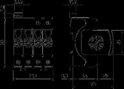Схема Разрядник для защиты от перенапряжений V20 4-полюсный, с дистанционной сигнализацией, 550 В — арт.: 5095314