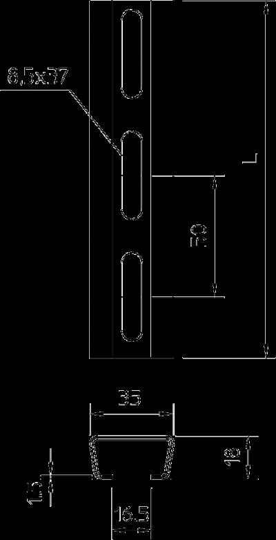 Схема Анкерная профильная рейка для средних нагрузок, неперфорированная — арт.: 1119696