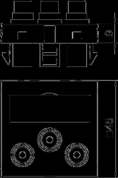 Схема Мультимедийная рамка с 3 разъемами Audio/Video-Cinch, ширина 1 модуль, с прямым выводом, для соединения пайкой — арт.: 6105162