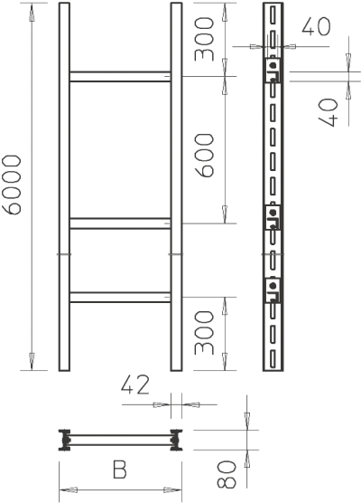 Схема Промышленный вертикальный кабельный лоток лестничного типа, с перекладинами W 40 — арт.: 6013848