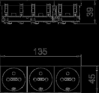 Схема Розетка 0° с заземляющим стержнем, тройная — арт.: 6120192