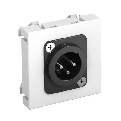 Мультимедийная рамка с 3полюсным штекерным разъемом XLR ширина 1 модуль, с прямым выводом, для соединения пайкой — арт.: 6105222