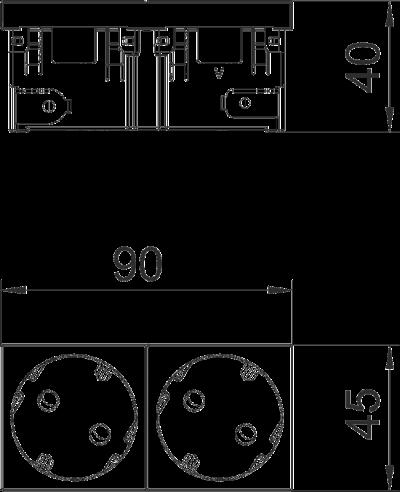 Схема Розетка 33° Connect 45 с защитным контактом, двойная — арт.: 6120482