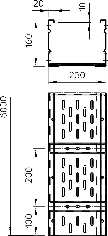 Схема Листовой кабельный лоток WKSG 160 для больших расстояний — арт.: 6098571