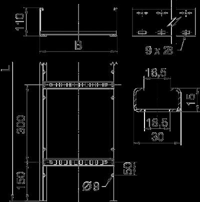 Схема Кабельный лоток LCIS 110 лестничного типа — арт.: 6209820