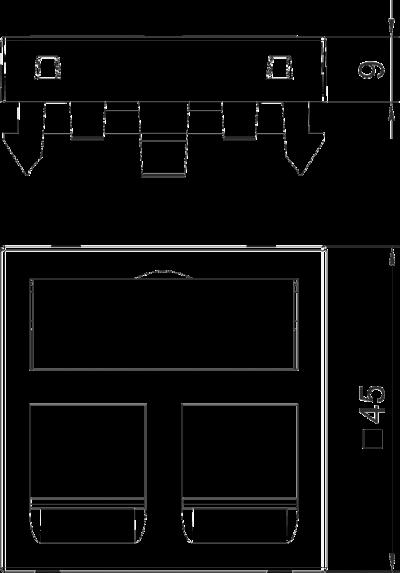 Схема Корпус компьютерной розетки, ширина 1 модуль, с наклонным выводом, тип C, без пылезащитных клапанов — арт.: 6119286