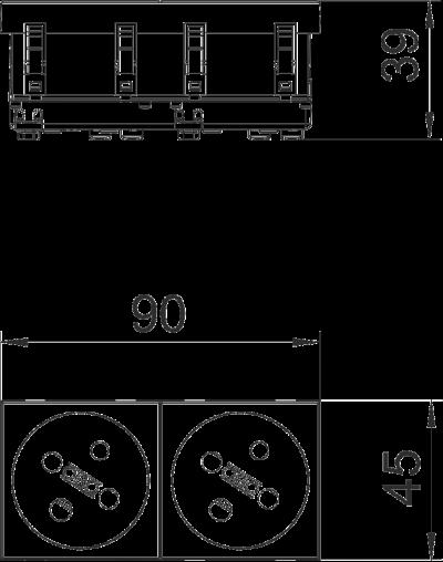 Схема Розетка 33° с заземляющим стержнем, с кодом, двойная — арт.: 6120324