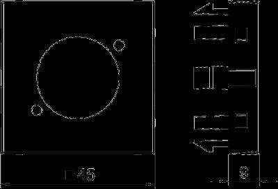 Схема Мультимедийная рамка c с отверстием для штекерного разъема Speakon ширина 1 модуль, с прямым выводом — арт.: 6105234