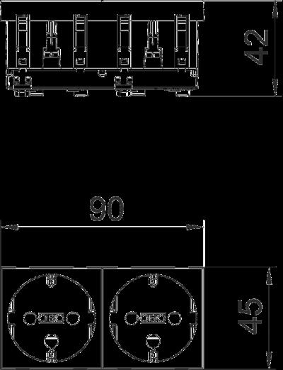 Схема Розетка 0° с защитным контактом, с кодом, двойная — арт.: 6120294