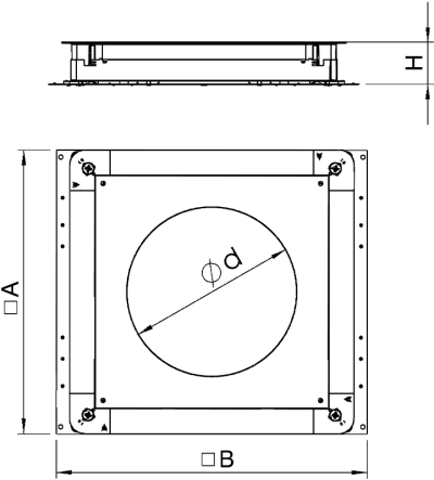 Схема Монтажное основания UZD350-3 с отверстием для круглого лючка, для стяжки высотой 70 — 125 мм — арт.: 7410116