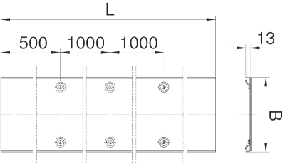 Схема Усиленная рифленая крышка с поворотным фиксатором, расстояние между фиксаторами 1000 мм — арт.: 6049200