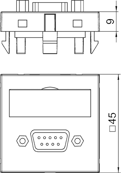 Схема Мультимедийная рамка с разъемом D-Sub9, ширина 1 модуль, с прямым выводом, с соединительным кабелем — арт.: 6104682
