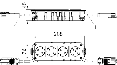 Схема Укомплектованная монтажная коробка GB3, на 2 цепи тока, длина 208 см — арт.: 7404508