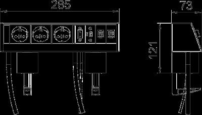 Схема Настольный бокс DB с крепежным зажимом, с 3 розетками, 1 разъемом HDMI, 1 разъемом USB 3.0 и 2 разъемами RJ45 CAT 6 — арт.: 6116961