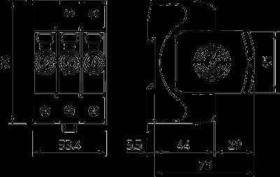 Схема Разрядник для защиты от перенапряжений V20 3-полюсный, 550 В — арт.: 5095213