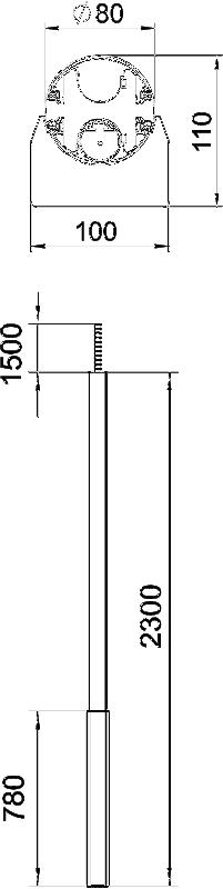 Схема Алюминиевая электромонтажная колонна ISS110100F — арт.: 6289040