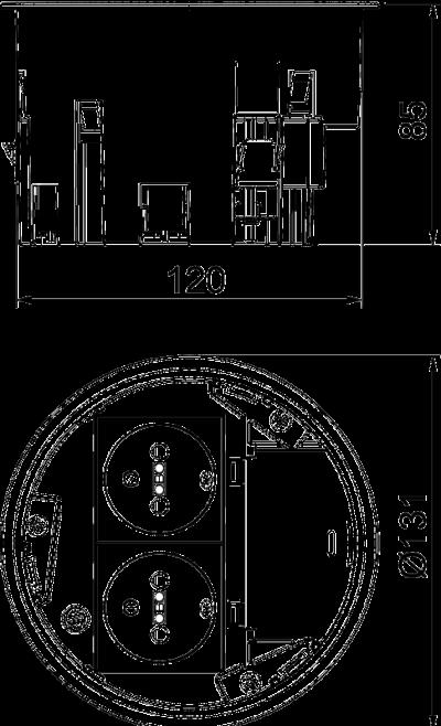 Схема Монтажная коробка с двойной розеткой NF — арт.: 7408834