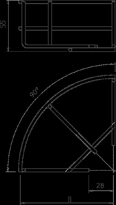 Схема Угловая секция 90° проволочного лотка — арт.: 6001920
