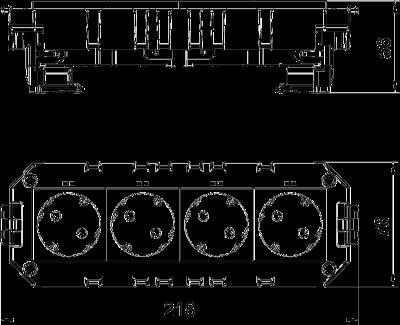Схема Модульная рамка MT4, укомплектованная 2 двойными розетками с защитным контактом, на 2 цепи тока, длина 208 мм — арт.: 7404636