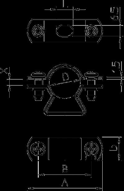 Схема Дистанционная скоба для кабеля и труб, из нержавеющей стали — арт.: 1361643