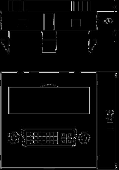 Схема Мультимедийная рамка с разъемом DVI-D, ширина 1 модуль, с прямым выводом, с соединительным кабелем — арт.: 6104754