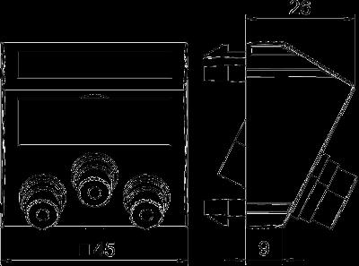 Схема Мультимедийная рамка с 3 разъемами Audio/Video-Cinch, ширина 1 модуль, с наклонным выводом, для соединения пайкой — арт.: 6105174