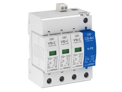 Разрядник для защиты от перенапряжений 3-полюсный + NPE, с дистанционной сигнализацией — арт.: 5094931