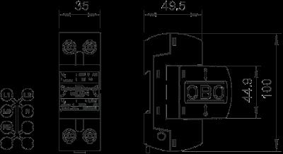 Схема Комбинированный разрядник 1-полюсный — арт.: 5096849