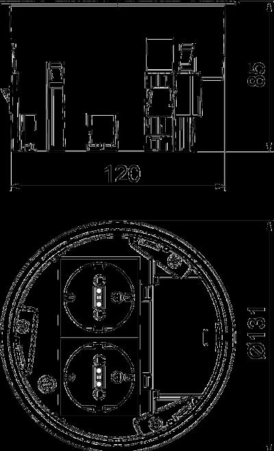Схема Монтажная коробка с двойной розеткой VDE — арт.: 7408832