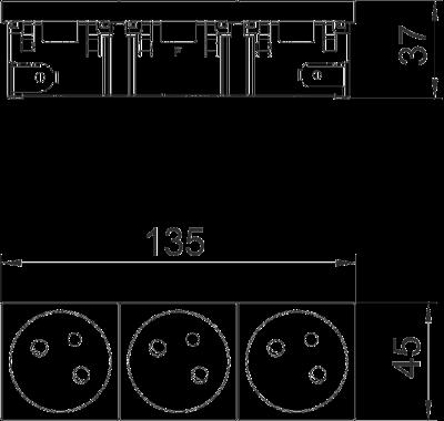 Схема Розетка 33° Connect 45 сзаземляющим стержнем, тройная — арт.: 6120692