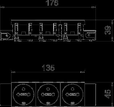 Схема Розетка 0° Connect 45 с заземляющим стержнем, тройная — арт.: 6120572