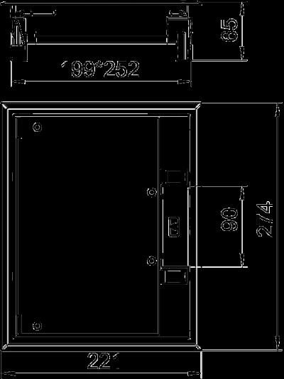 Схема Прямоугольный лючок GES6 с фиксатором — арт.: 7405321