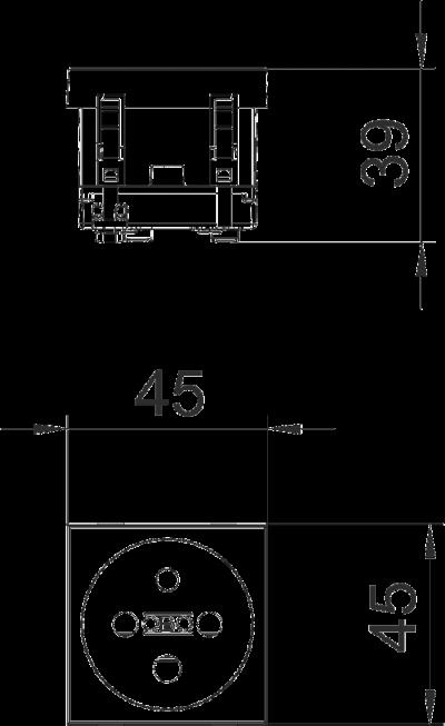 Схема Розетка 0° с заземляющим стержнем, с кодом, одинарная — арт.: 6120312