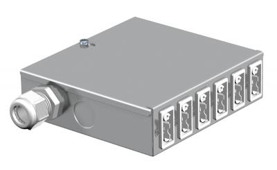 Энергораспределитель UVS с фиксированным 5-полюсным подключением, с 6 3-полюсными гнездовыми разъемами белого цвета — арт.: 6108005