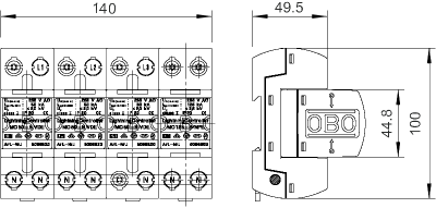 Схема Молниезащитный разрядник 3-полюсный + NPE — арт.: 5096878