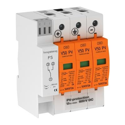 Комбинированный разрядник V50 для фотогальванических установок, 600 В постоянного тока, с дистанционной сигнализацией — арт.: 5093625