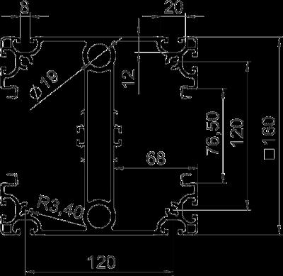 Схема Профиль промышленной электромонтажной колонны ISS160160IP6 — арт.: 6290406