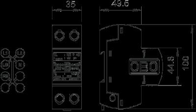 Схема Комбинированный разрядник 1-полюсный + NPE — арт.: 5096865